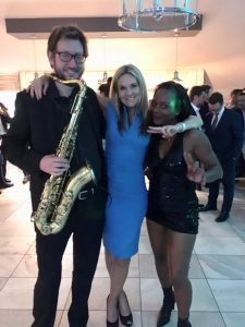 Saxophone player, Faye Maguire from Brunel and Tina Turner tribute